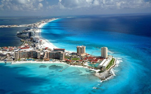 Cancun aerial shot of Hotel Zone