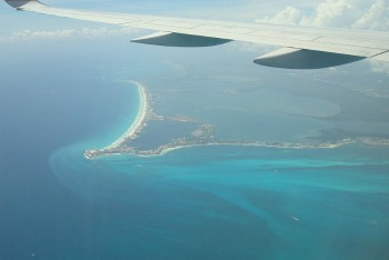 Aerial view of Cancun coastline