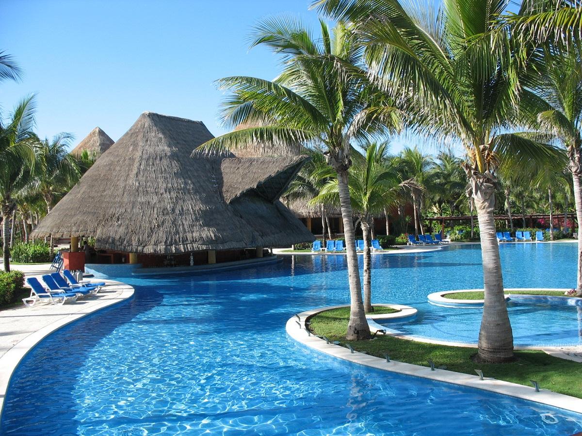 Barcelo Maya Beach pool and palapa